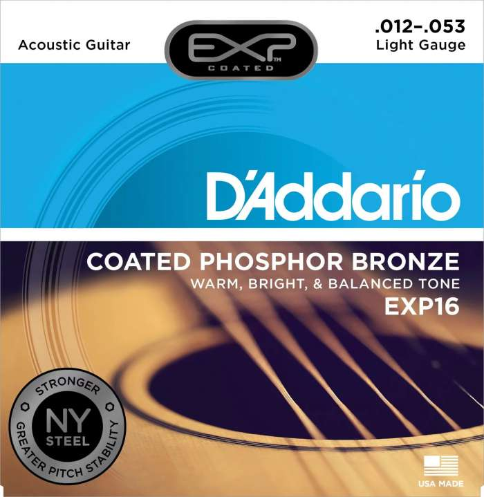 D'Addario EXP16 Coated Phosphor Bronze Light Acoustic Strings